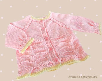 Hand knit baby sweater,knitted baby sweater, baby girls' clothing, pink baby vest, newborn jacket, 0-6 months, READY TO SHIP