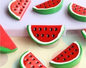 5pcs of resin watermelon diy crafts cabochon 32x16mm flatback red