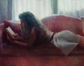Original oil painting, Reading on the Couch, impressionism female figure painting of youth and beauty