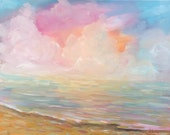 Beach sunset painting -original oil - large canvas art - wall art seascape - ocean lake - fine art home decor - paintings - abstract