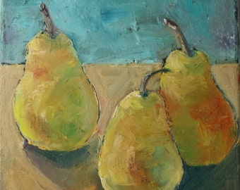 Fruit Painting - Original Oil Still Life - Fine Art Canvas - Pear Painting - Home Decor Wall Art - Small Painting - Pallet Knife Textured