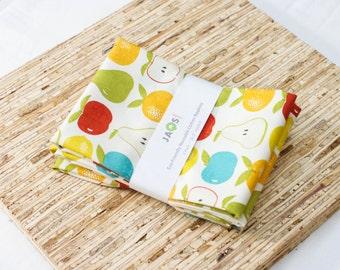 Large Cloth Napkins - Set of 4 - (N4599) - Fruit Apple Pear Modern Reusable Fabric Napkins