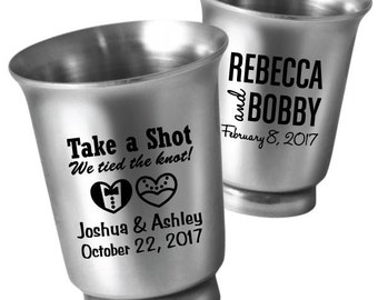 48 Personalized Wedding Favors 1.5oz Stainless Steel Shot Glasses - Unique Wedding Favor Ideas