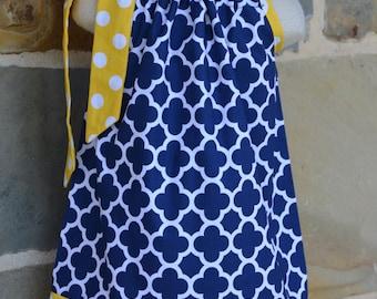 Navy Quatrefoil and Yelllow Polka Dot  Pillowcase Dress
