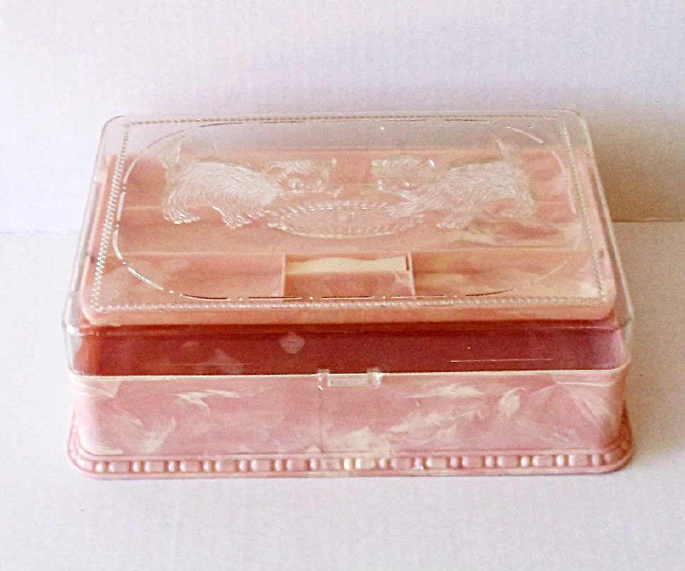 Acrylic Trinket Boxes : Pink white acrylic trinket box boudoir display clear top