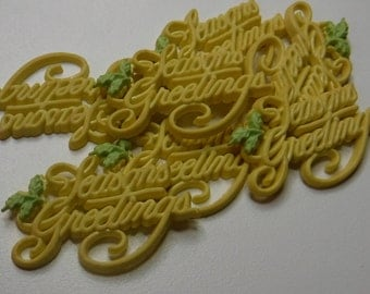 7 Yellow Seasons Greetings Flat Back Buttons Size 1 5/8""