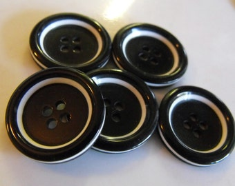 """5 Black with White Side Round Buttons Size 7/8"""""""