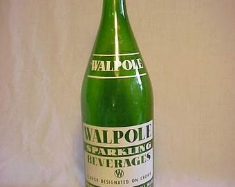 1972 Walpole Sparkling Beverages Walpole Bottling Co. Walpole, Mass., ACL Painted Label Crown Top 28 ounce Soda Bottle
