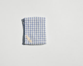 Linen Dish Towel in Large Blue Check