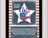 Daddy, You're Our Hero - 8x10 DIGITAL INSTANT DOWNLOAD - Add your childrens hand prints - Gift for Deployed Solider - Military - Printable