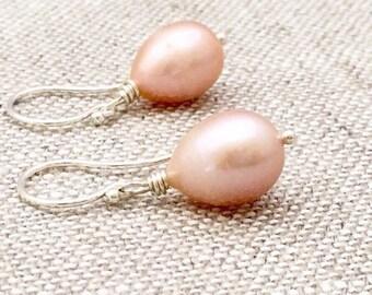Large Oval Shaped Pink Freshwater Pearl Earrings, Argentium Sterling Silver Hoops, June Birthstone