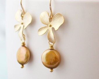 Gold Orchid Flower Earrings, Golden Brown Coin Pearl, 14K Gold Filled Hoops, June Birthstone, Wedding Jewelry, Gift Under 30