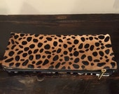 Leopard  fold/over leahter clutch (cow hair)