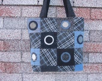 Wool patchwork purse, wool penny rug purse