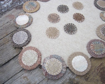 Wool penny rug, wool candlemat, oval penny rug