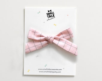 Pink Hair Bow - School Girl Bow - Baby Bow - Mini Hand tied Bow - Girls Hair Bow