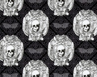 Gothic Skulls Damask Black Gray White premium cotton fabric from Michael Miller