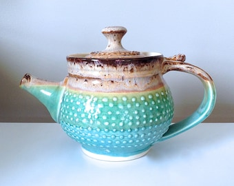 Teapot in Cerulean Green and Mocha Cream Handmade Ceramic, One of a Kind, by RiverStone Pottery
