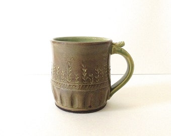 Pottery Coffee Mug, Pottery Tea Cup, Green, Handmade Wheel Thrown Ceramics