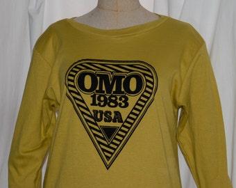 vintage Norma Kamali t shirt, long sleeve t, kiwi green, omo 1983, cotton t, medium