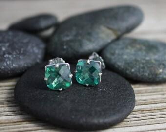 Green Topaz 14k White Gold Stud Earrings - 8mm Cushion Cut Green Topaz Earrings - May Birthstone Studs - Ready to Ship