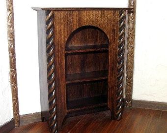 Medieval Cabinet Shelves with Spiral Trim, Dollhouse Miniature 1/12 Scale, Hand Made