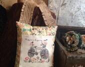 Door Pillow, Handmade, Door Reminders, Gift, Teacher Gift, Inspirational Art, Bicycle Illustration