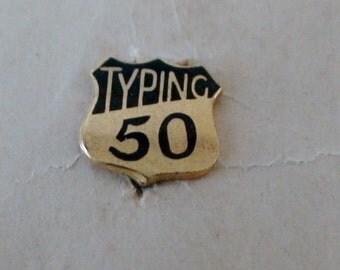Scholastic Typing Award Pin, Brooch, 50 WPM