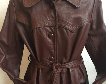 Classic Women's Vintage Leather Trench Coat With Belt - Size Large
