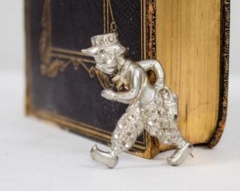 50% OFF SALE / 1930s vintage brooch / silver Dutch boy figural