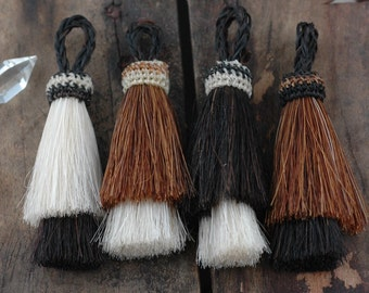 "Double Stack Horse Hair Tassels, Handmade, Natural Colors, Craft, Jewelry Making Supply Western, Bohemian, Choose your Color, 3"" 1 Tassel"