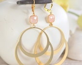 Large Gold Double Circle Hoop and Peach Stone Dangle Earrings. Jewelry Gift for Her.