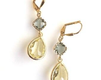Yellow and Charcoal Grey Drop Dangle Earrings in Gold.  Gray Yellow Bridemsaids Earrings. Jewelry Gift.  Modern. Dangle. Wedding.
