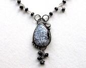 Dendritic Agate, Black Garnet, Moonstone Sterling Silver Necklace