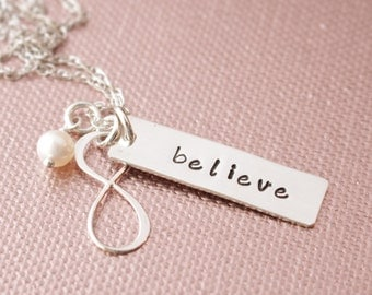 Infinity Pendant with Believe Hand Stamped Sterling Silver Tag Necklace