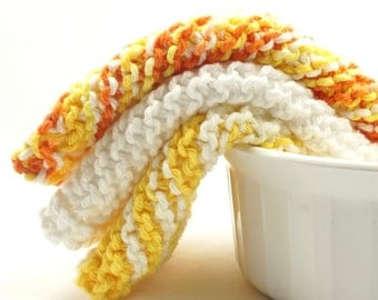 Knitted Dish Cloths, Set of Three, Yellow, Orange, White, Cotton Wash Cloths, Grandma's Favorite Dish Rag, Knit Dish Cloths, Cleaning Cloth