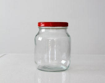 vintage glass kitchen jar with red lid, storage canister