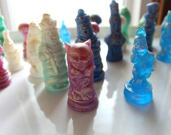Vintage Alice's Adventures in Wonderland & Through the Looking-Glass and What Alice Found There Figurine Soaps,Vintage Alice Chess Set Soaps