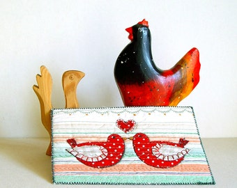 Red Birds Card, Anniversary love birds Fiber Art Card, red green, happy couple gift, folk art birds, wedding anniversary card, love heart