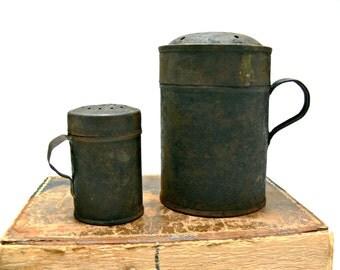 Antique Tin Shakers Primitive Flour Sugar Salt Containers 19th Century