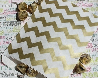 250 Gold Metallic Chevron Party Favor Bags, Wedding Favor Bags, Wedding Candy Bags, Graduation Favor Bags, Sweet 16 candy bags