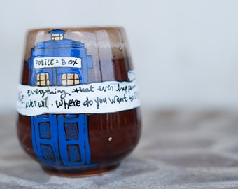 "FLAWED: Doctor Who ""All of time and space"" Quote Mug - Large, blue mug, hand painted with TARDIS and stars - Eleventh Doctor"