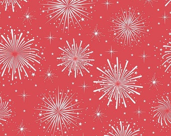 Riley Blake. Parade on Main. Fireworks Red - BTY Cotton Fabric - Choose your cut