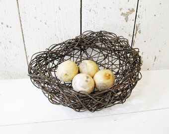 Wire Birds Nest Garden Art Sculpture