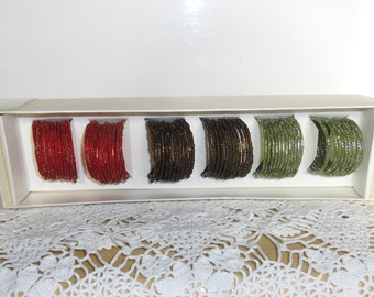 Vintage Napkin Rings - 6 Seed Bead Coiled Napkin Rings, Table Bling, Original Box, 2 Each of Olive Green, Copper and Brown, Red