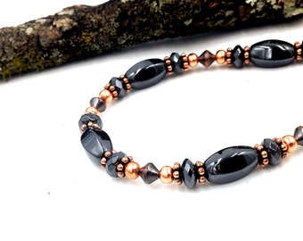 Copper Bracelet or Anklet with Triple Power Magnetic Hematite || Super Strong Magnetic CLASP || Traditional Medicine || Holisitc Pain Option
