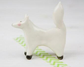 White Fox Totem - Ceramic Miniature Animal - Arctic Fox Figure
