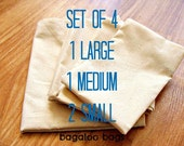 4 Reusable Produce Bags / 1 LRG, 1 MED, 2 SMALL