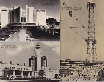 Century of Progress- 1930s Vintage Postcards- SET of 3- 1933 Chicago World's Fair- Sky Ride- Chrysler Motors- Illinois Host- Paper Ephemera