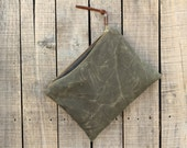 End of Year SALE //  50%  OFF // Traveler's Clutch in SEA  / / / large waxed canvas pouch